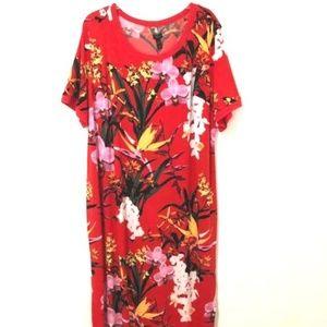 G.I.L.I. Got It Love It Red Tropical Maxi Dress